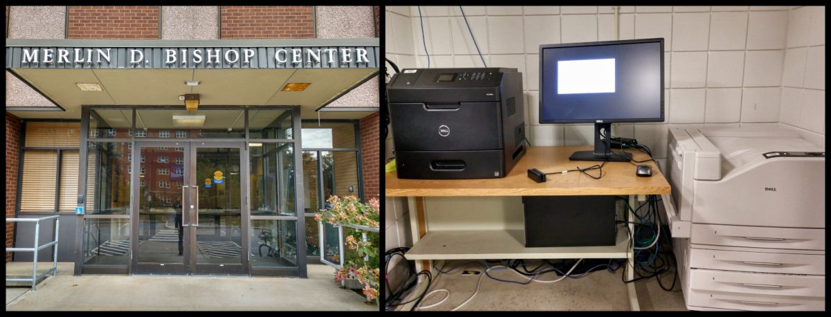 Collage: Outdoor picture of Bishop Center Exterior Entrance (left), Printer Unit from Basement (right)