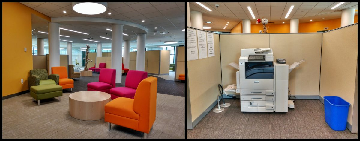 Collage: Colorful comfy chairs in the newly renovated Study Area (left), Printer unit behind partition wall (right)