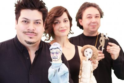 From left, MFA puppeteers Kalob Martinez, Ana Crăciun-Lambru, and Gavin Cummins present a triple bill for the MFA Puppet Arts Festival onstage at the Studio Theatre March 24-April 3. (Gerry Goodstein Photo)