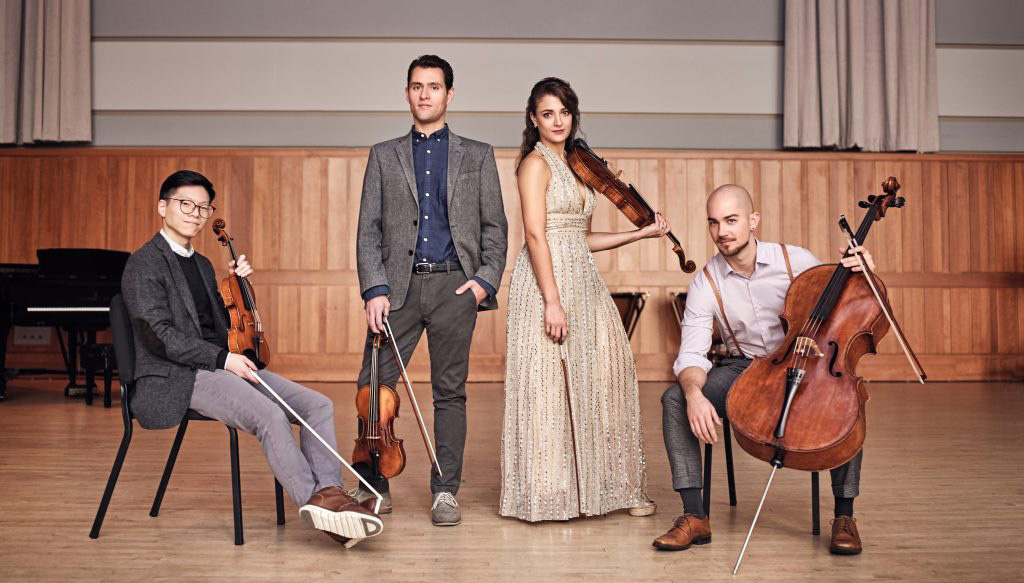 portrait of the dover string quartet, taken by photographer Roy Cox