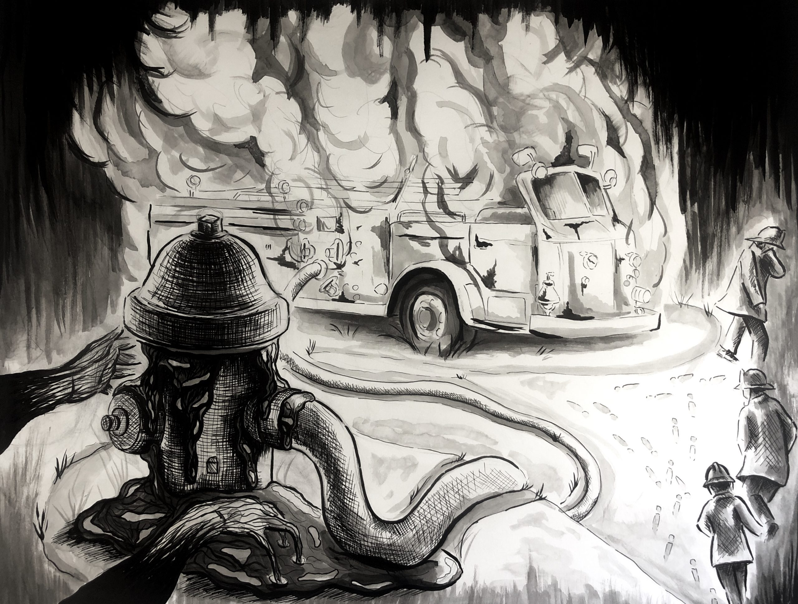 ink drawing by Hannah Kim of a fire truck burning