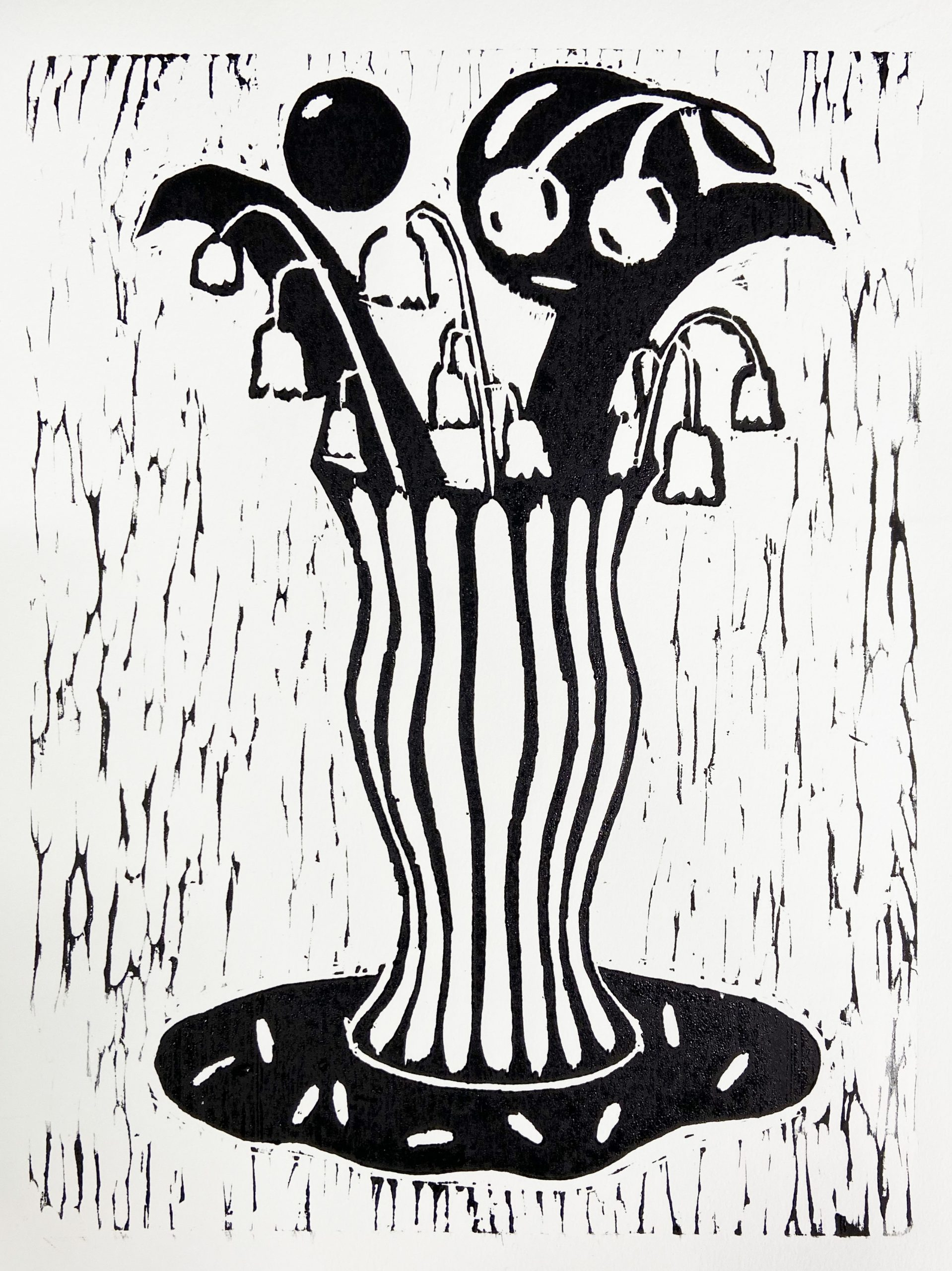 woodblock print of plants in a vase by Katie May Howarth