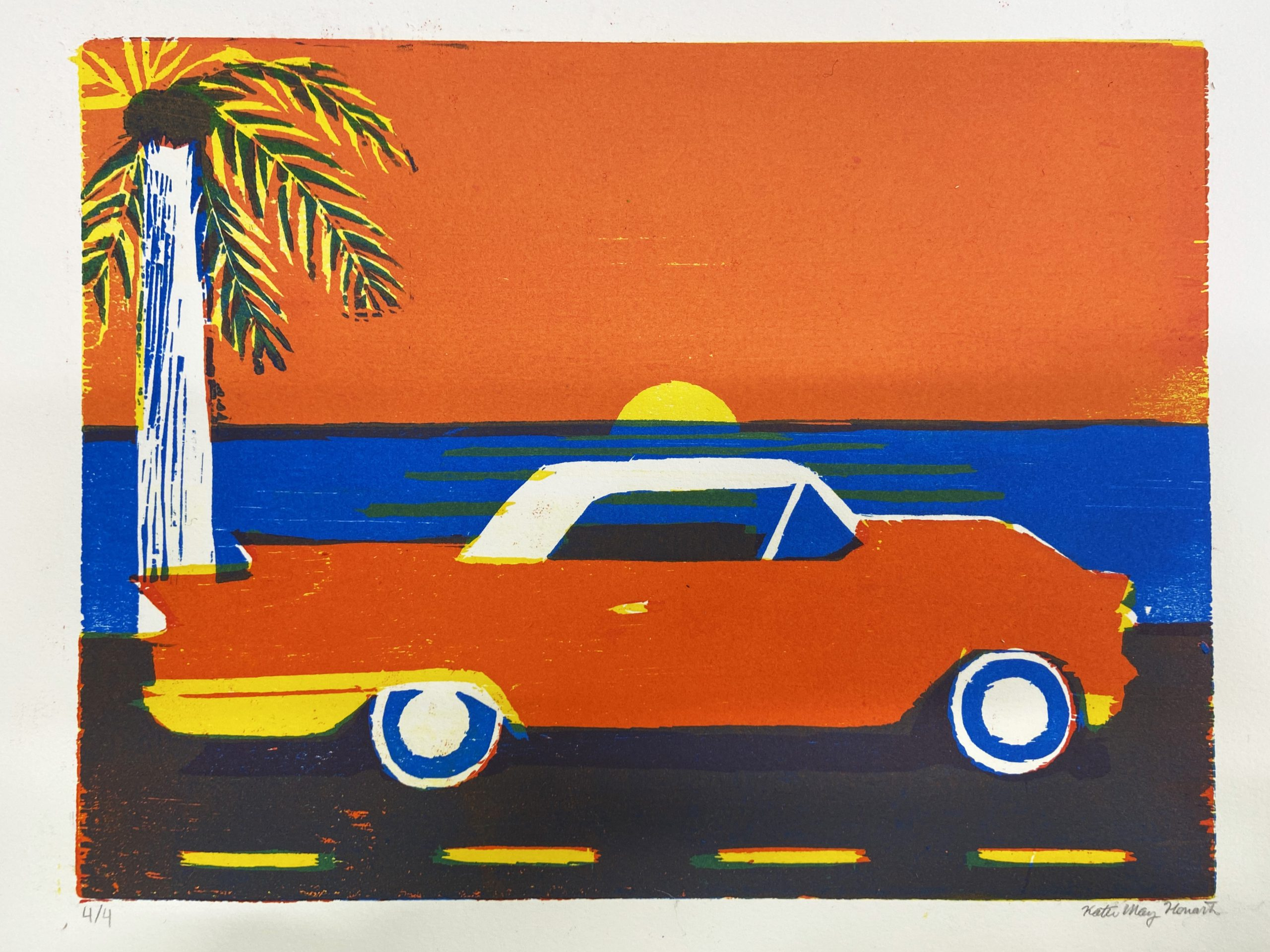 Colorful art print of a vintage car by a beach with a palm tree in the background, by Katie May Howarth